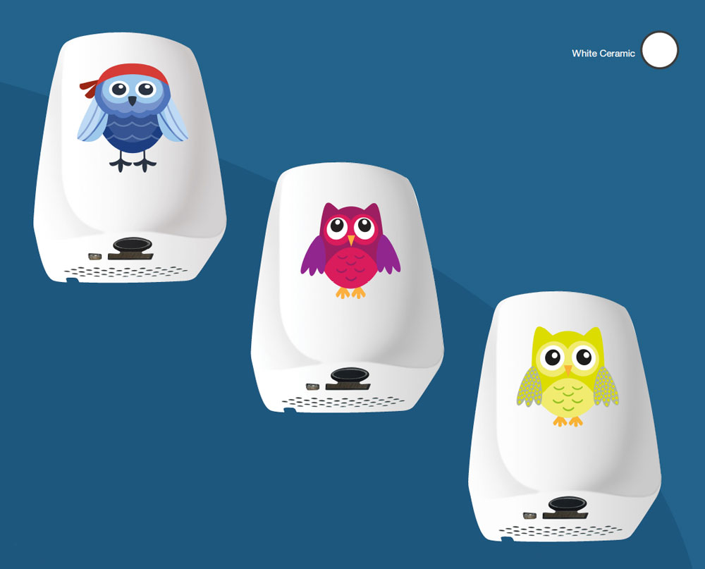 Kids hand dryers with owls on Hygenie Birmingham UK