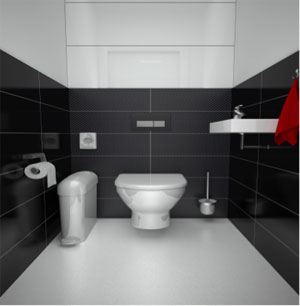 Modern commercial toilet Hygenie Birmingham UK