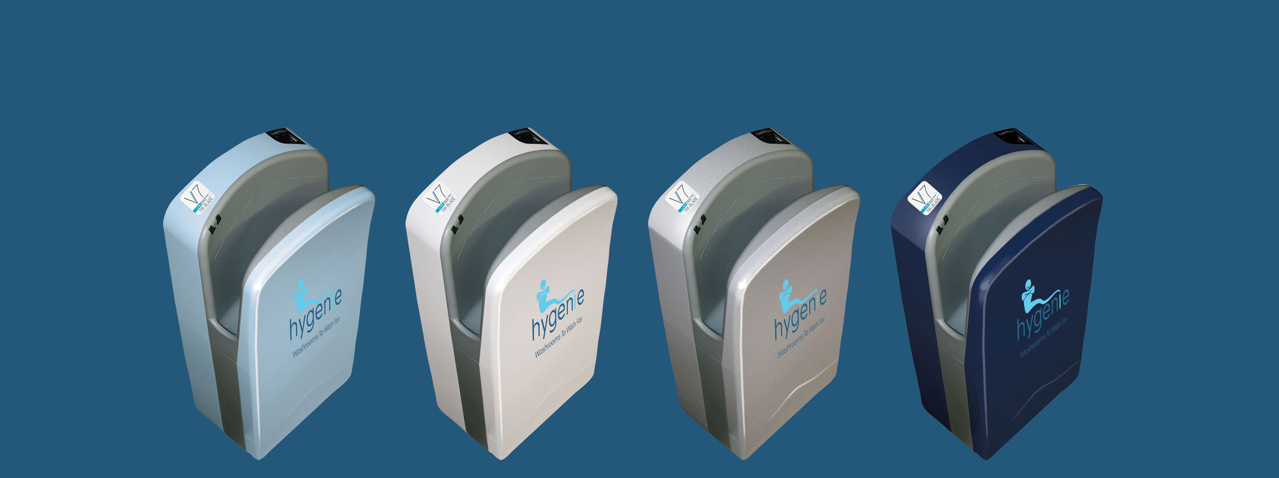 4 different cloloured modern hand dryers Hygenie Birmingham UK